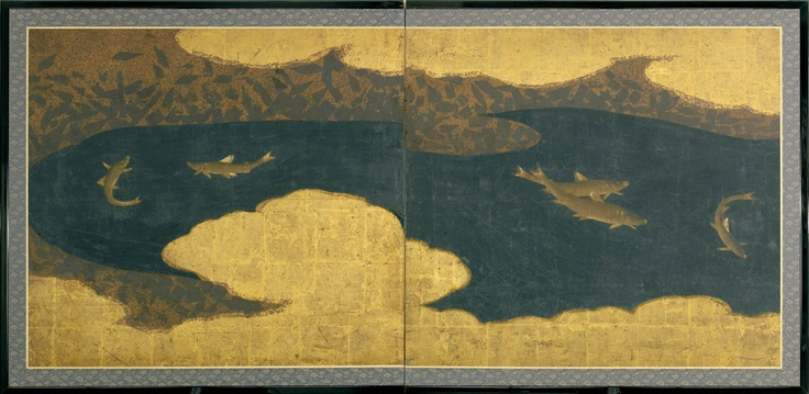 A two-fold paper screen painted in ink and colour on a buff and gold ground with ayu (fresh-water trout) in a river amongst gold clouds. Unknown (17th /18th century Edo period)