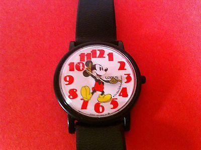 VINTAGE LORUS MICKEY MOUSE WATCH BLACK WRISTWATCH DISNEY TIMEPIECE WALT DISNEY