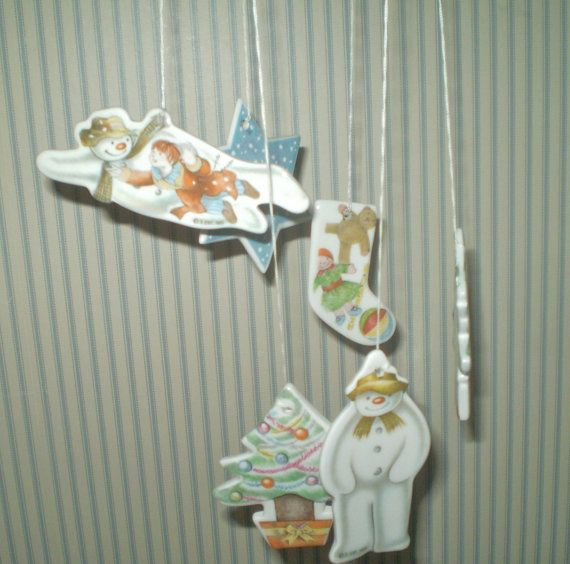 1985 Royal Daulton Flying Snowman wind chime or Mobile- Raymond Briggs The SNOWMAN wind chime- Rare snowman Bone China wind chime
