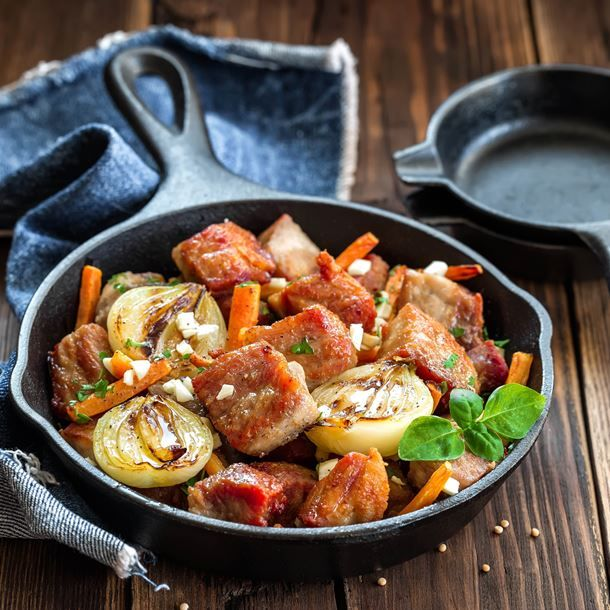 Poêlée de veau aux carottes et oignons