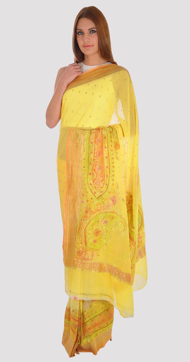 Butter Cup Yellow Banarasi Zari Handwoven Pure Georgette Saree