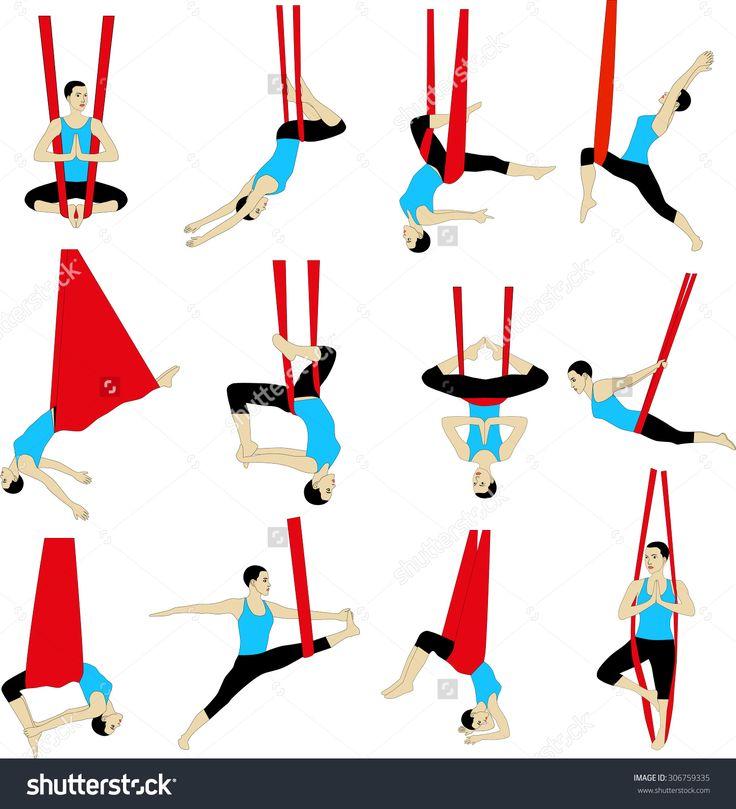 Aerial Yoga. Anti-gravity Yoga. Woman doing anti gravity yoga exercise. Silhouette.