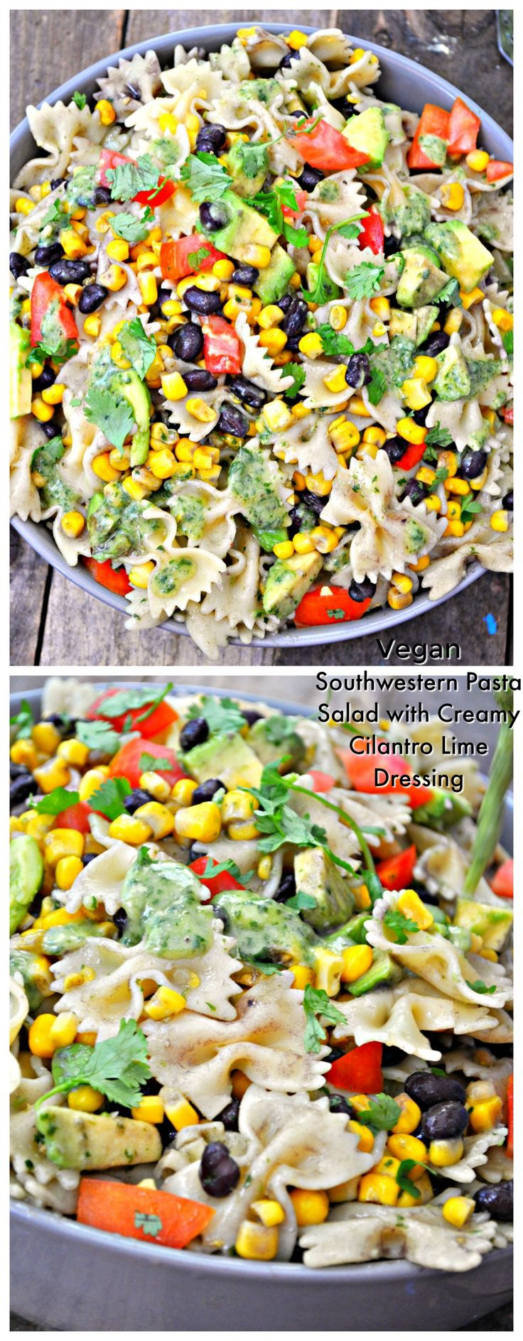 "<p style=""text-align: center;""><span style=""font-family: georgia, palatino, serif;""><strong>Vegan Southwestern Pasta Salad with Creamy Cilantro Lime Dressing</strong></span></p>"