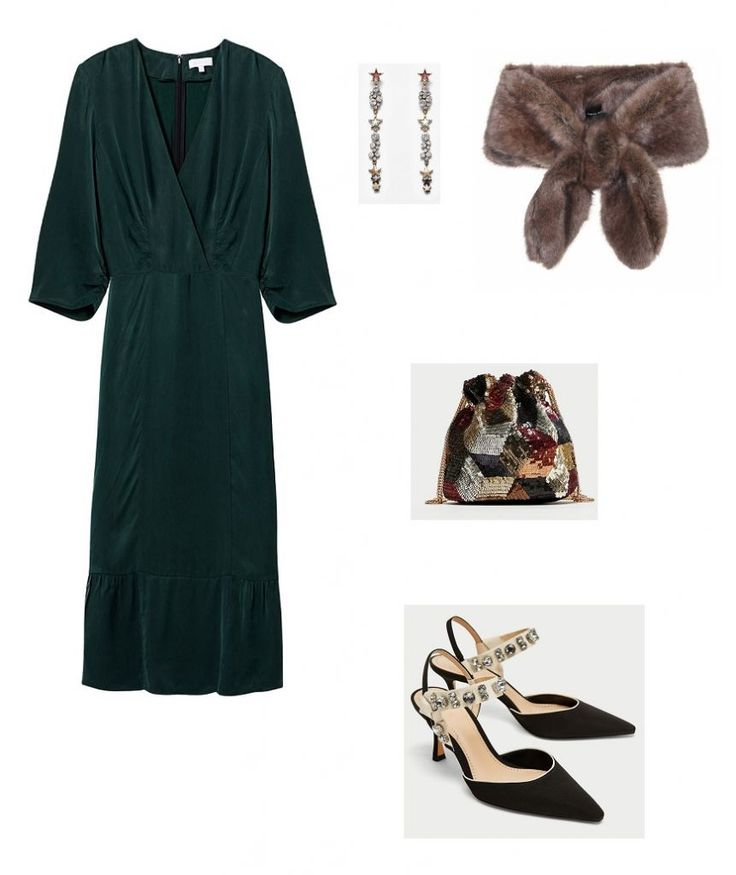 Time for Fashion » Style Consultancy. Teal green long dress+black embellished sling-back heels+fur look stole+colorfull sequinned handbag+long earrings. Fall Wedding Guest Outfit 2017