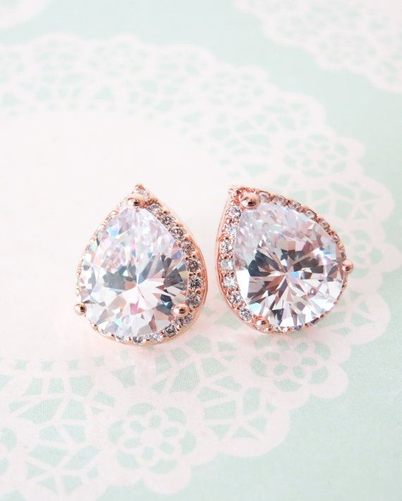 Rose Gold Luxe Cubic Zirconia Teardrop Ear stud, wedding bridal earrings, bridal bridesmaid gifts, ear post stud, pink gold weddings, by ColorMeMissy, www.colormemissy.com