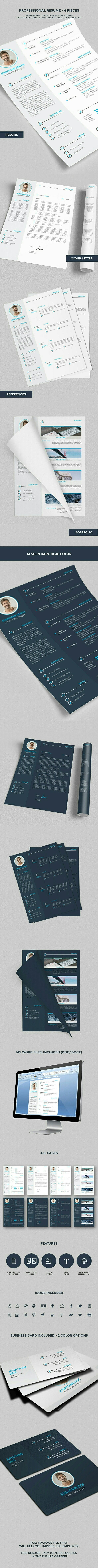 key words for resume%0A Professional Resume   CV    Pieces on Behance