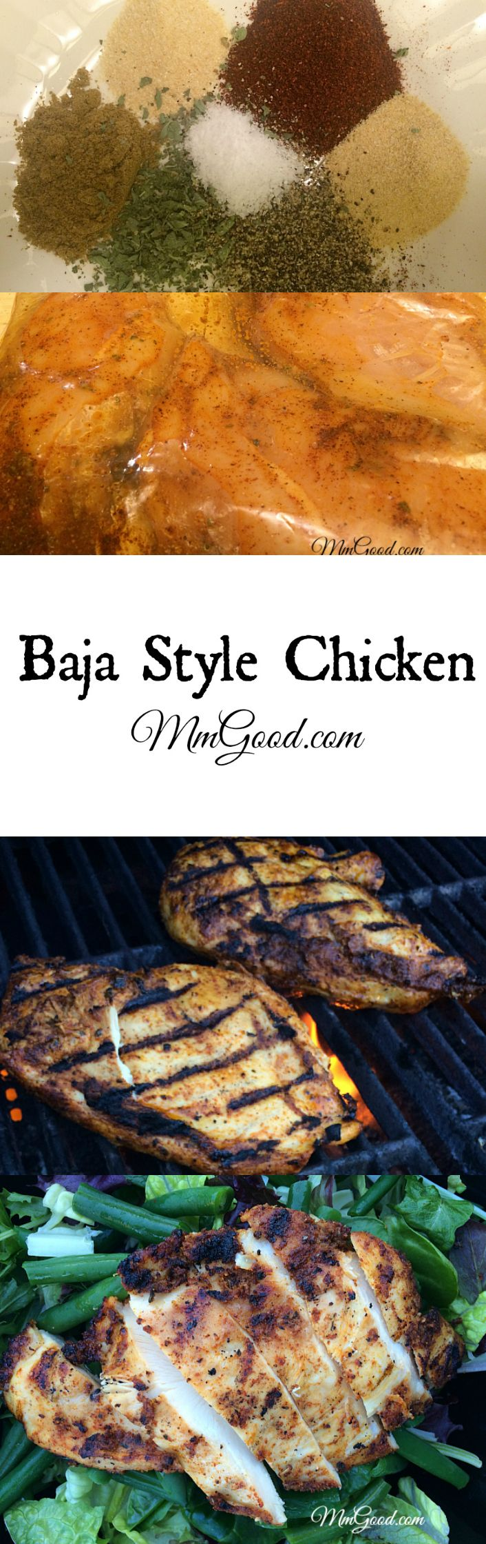 My sister gave me this healthy recipe for baja style grilled chicken. It's super moist, favorable and takes not time to bbq. The marinade is homemade so you know exactly what is in it and it has very little oil so it's healthy!   MmGood.com