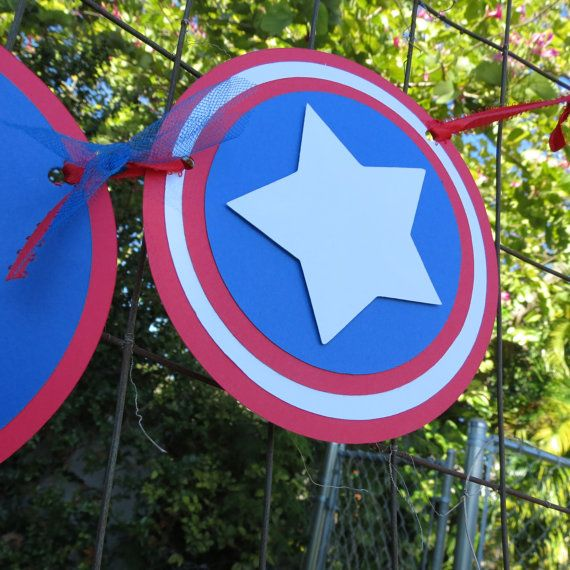 Captain America Inspired Happy Birthday banner by DesignsByLuly, $25.00