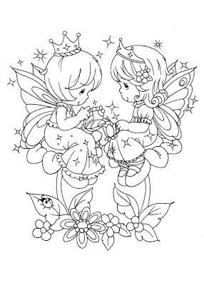 Sandra doing art: Precious Moments - gentle fairies