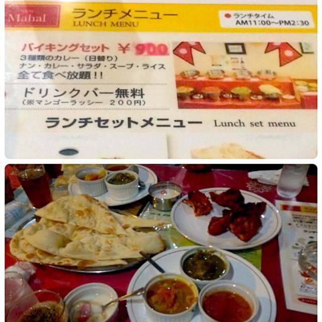 カレーは3種 タンドリーチキン サラダ5種 スープ デザートはヨーグルトポンチ風 ソフトドリンクのサーバーあり ライス ナンはおかわり自由   味か全般的に塩味が薄いと感じました。 - 38件のもぐもぐ - 山梨 ニューマハール(インド料理 by Miki Sano
