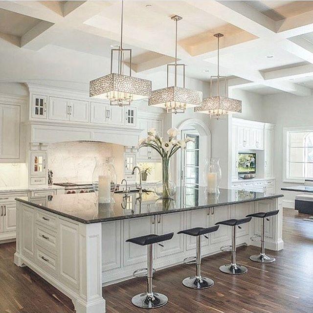 "2,222 Likes, 21 Comments - Velvet Musings | Vera (@velvetmusings) on Instagram: ""Kitchen island ok point. Those light fixtures are something! By @platinumserieshomes via…"""