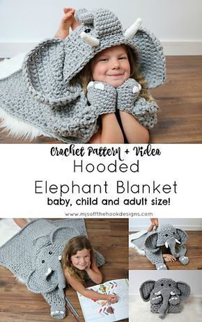 Hooded Elephant Blanket pattern by MJ\'s Off The Hook Designs ...