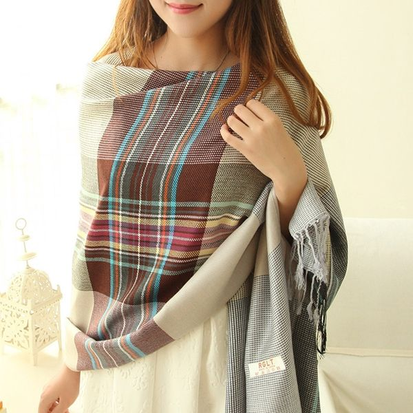 Fashion Elegant Plaid Splicing Long Women's Scarves