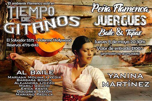 "Este jueves 11 La Peña Flamenca ""JUERGUES"". Clase abierta con Yanina Martinez  Show Flamenco  Tarot de Marsella Tapas españolisimas a partir de $25.- Entrada al show $100.- RESERVAS 4776-6143"