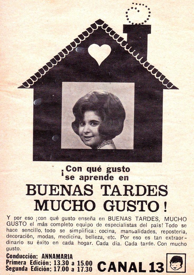 """Publicidad del programa """"Buenas Tardes, Mucho Gusto!"""", CANAL 13, Buenos Aires, década del 60."""