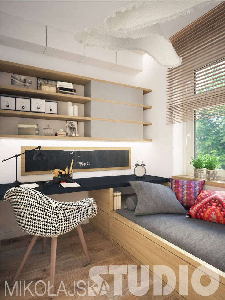Combining a day bed and desk might not be the best idea for productivity, but it is a cool and styilsh way to make use of your space. Interior-design-teenager