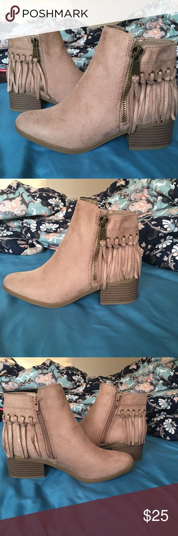 Taupe Faux Suede Booties! (Size 8) Never worn Brand new! Never worn before booties! Perfect for fall! They are faux suede and have zippers on both sides! It's a Taupe/light grey color! They are size  8 1/2 but they run 1/2 smaller in my opinion so they will fit perfectly! I wear size 8!  Brand is classified! Shoes Ankle Boots & Booties