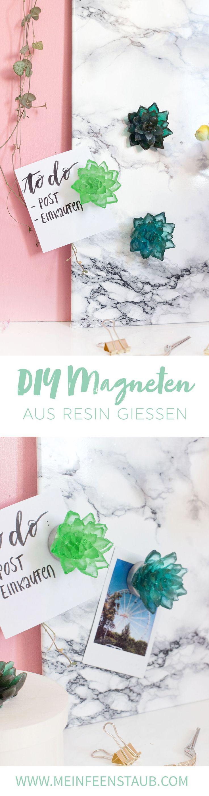Kreative DIY-Idee zum Selbermachen: Magneten mit Sukkulente aus Gießharz | Resin ganz einfach selbstgemacht mit Farbpigmenten | Tipps zum Gießharz (Resin) färben und verarbeiten | DIY Ideen mit Gießharz / Resin | DIY Magnete basteln