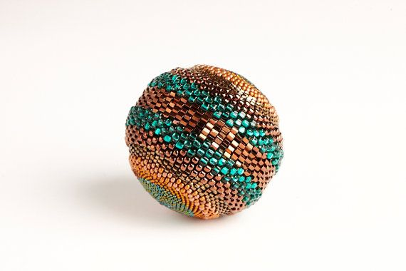 Beaded Ball  Camouflage  Bronze & Green  Large by TheBeadedEgg