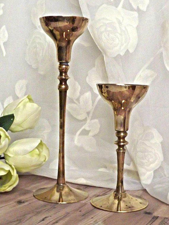 Brass Candle Holders Retro Chic Taper Candle Holders