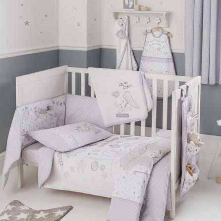 Disney Stars Grey Dumbo Nursery Cot Bed Duvet Cover and Pillowcase Set