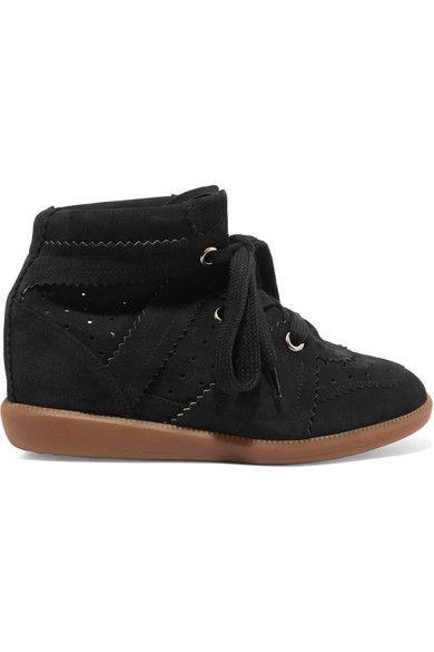 Isabel Marant - étoile Bobby Suede Wedge Sneakers - Black - FR36