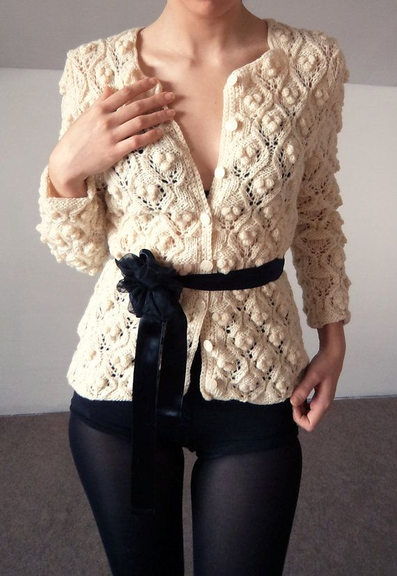 White Cherry knitted cardigan by bibatron on Etsy, $360.00