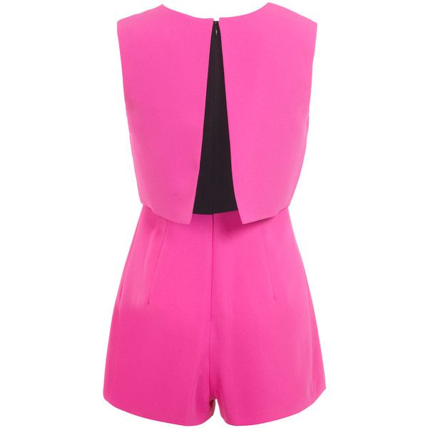 Miss Selfridge Petites Fuschia Romper ($35) ❤ liked on Polyvore featuring jumpsuits, rompers, fluorescent pink, petite, miss selfridge, playsuit romper, pink rompers and pink romper
