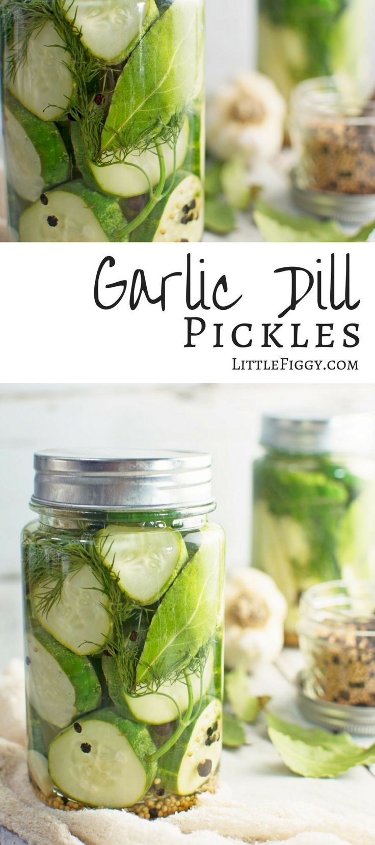 These easy to make Garlic Dill Pickles are perfect served on their own, as a side or straight on top of your favorite hamburger! Get the recipe at LittleFiggyFood. via @LittleFiggyFood