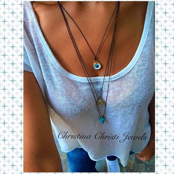 Women's Turquoise Stone Necklace Women's by ChristinaChristiJls