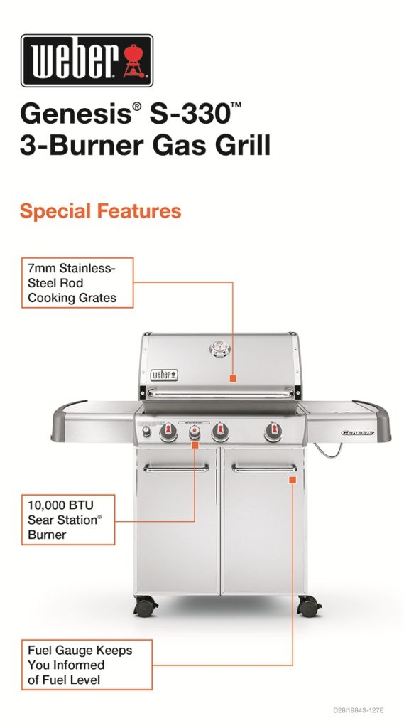 Weber Genesis S-330 3-Burner Propane Gas Grill in Stainless Steel-6570001 - The Home Depot
