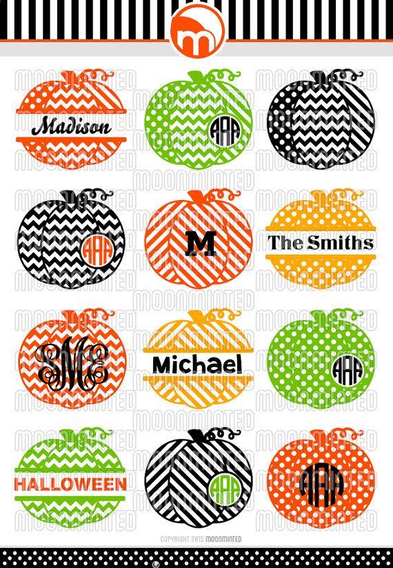 Fall Patterned Pumpkins SVG Cut Files - Monogram Frames for Vinyl Cutters, Screen Printing, Silhouette, Die Cut Machines, & More
