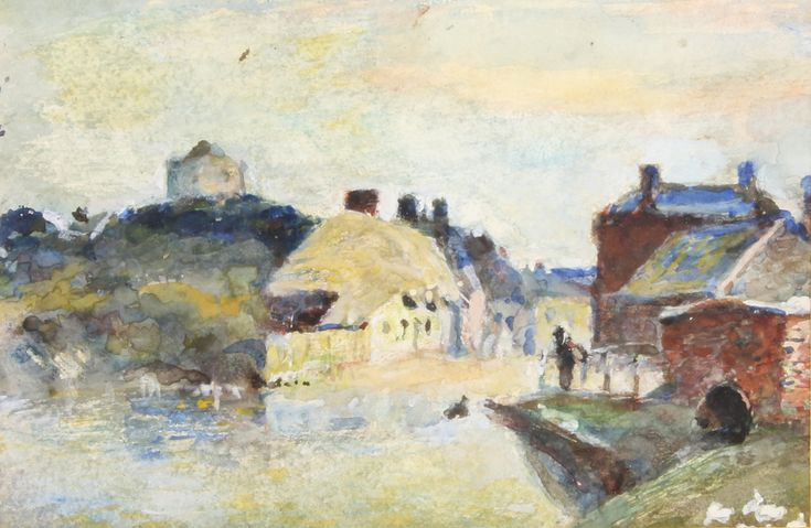 "Lot 442, An Edwardian watercolour, unsigned, village scene with pond 5 1/2"" x 8"", est £60-80"
