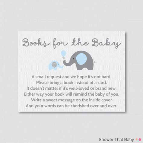 Printable Elephant Baby Shower Bring a Book Instead of a Card Invitation Inserts in Blue and Gray    Help build the new babys library by