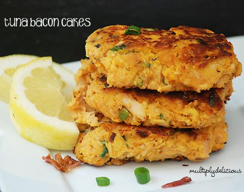 Tuna Bacon Cakes  1 cup cooked sweet potato, mashed  2 to 3 green onions, finely diced  10 ounces canned wild albacore tuna, drained  2 to 3 slices cooked bacon, diced  2 tablespoons cilantro, finely chopped  1 small garlic clove, minced  Zest from 1/2 lemon (about 1/2 teaspoon)  2 pastured eggs  2 tablespoons coconut flour  sea salt and fresh ground pepper to taste