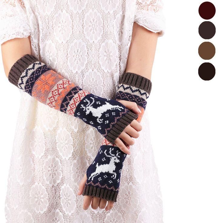 Удивительные мода запястье теплые зимние вязаные длинные перчатки без пальцев для женщин рукавицы высокое качество купить на AliExpress