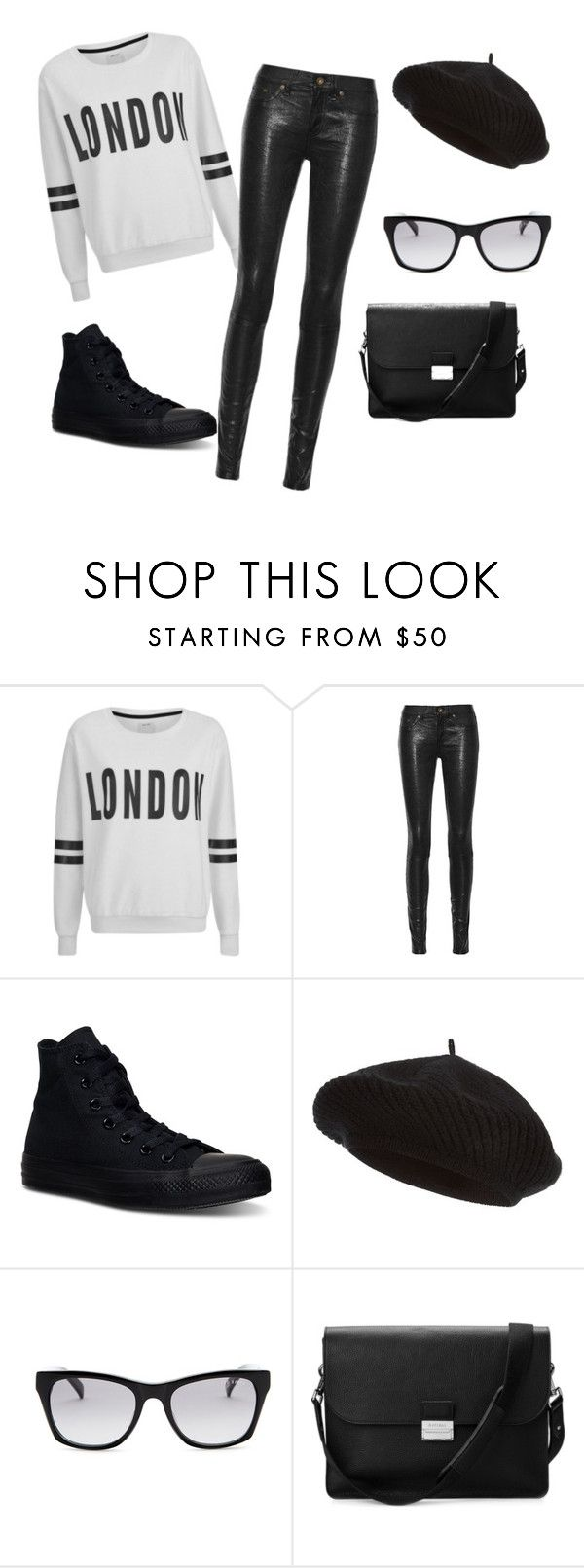 """L O N D O N"" by kyra07 ❤ liked on Polyvore featuring ONLY, rag & bone/JEAN, Converse, Harrods, Ted Baker and Aspinal of London"