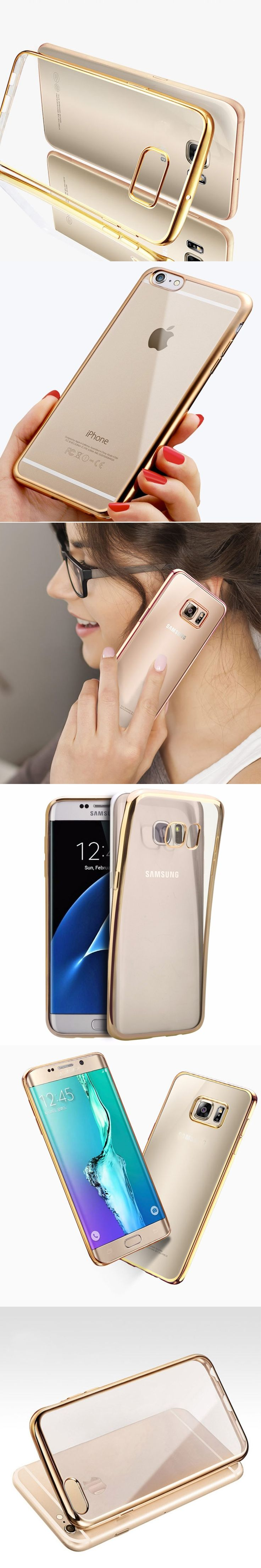 For Samsung GalaxyS6s6 Edge Plus mobile phone case all-inclusive S7edge Slim Crystal ultra-thin gold explosion-proof phone shell