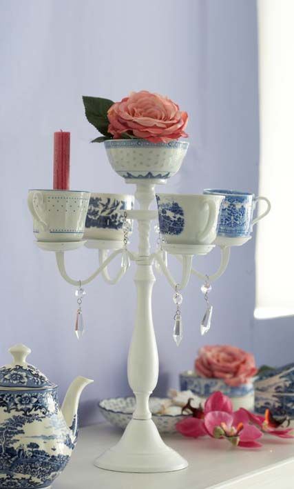 Make a candelabra from teacups! I have to try this!