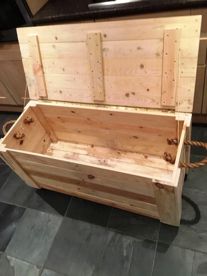 Diy Pallet Chest From Only Pallets Wood Pallet Toy Boxes