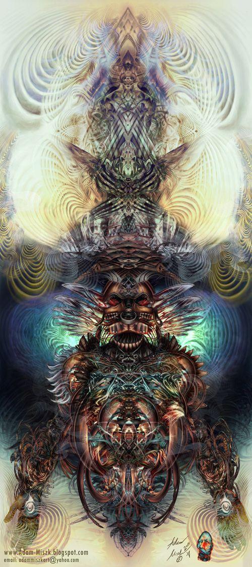 'Shaman' by Adam Miszk #visionaryart #art #digital #contemporaryart #dmt #illustration #fineart #scifi #digitalart #painting #horrorart #psychedelic