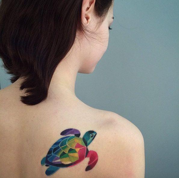 Colorful sea turtle on back shoulder by Sasha Unisex