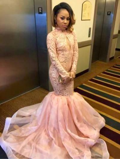 879dc5bc784d Pale Pink Mermaid Prom Dresses High Neck Long Sleeves Lace Organza Custom  Made Black Girls Party Dresses