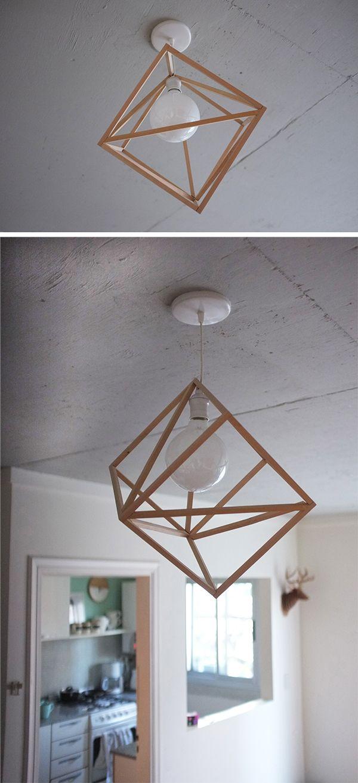 lampara con varillas de madera