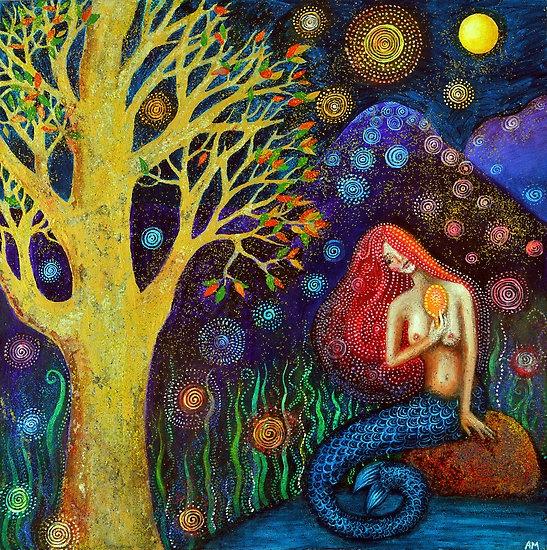 artist: Alice Mason  Winter Moon Mermaid    A beautiful winter mermaid by a golden tree at night.