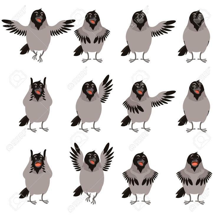 Vector Beeld Van De Flat Iconen Van Crows Set Royalty Vrije Cliparts, Vectoren, En Stock Illustratie. Image 66691929.