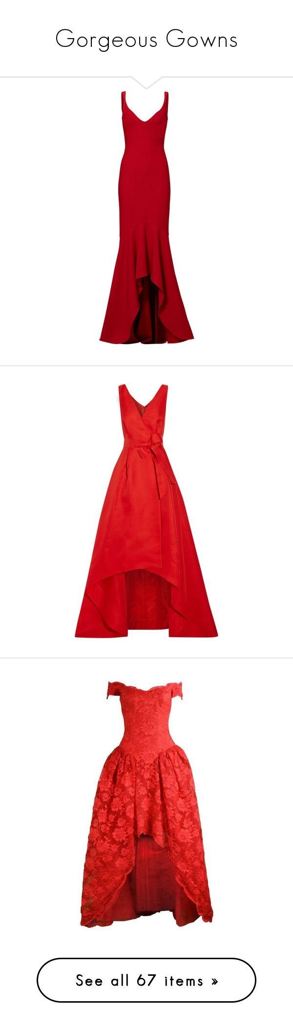 """Gorgeous Gowns"" by anniebenny ❤ liked on Polyvore featuring Gowns, dresses, gowns, long dresses, carmen marc valvo evening gowns, carmen marc valvo, carmen marc valvo dress, red ball gown, vestidos and red"