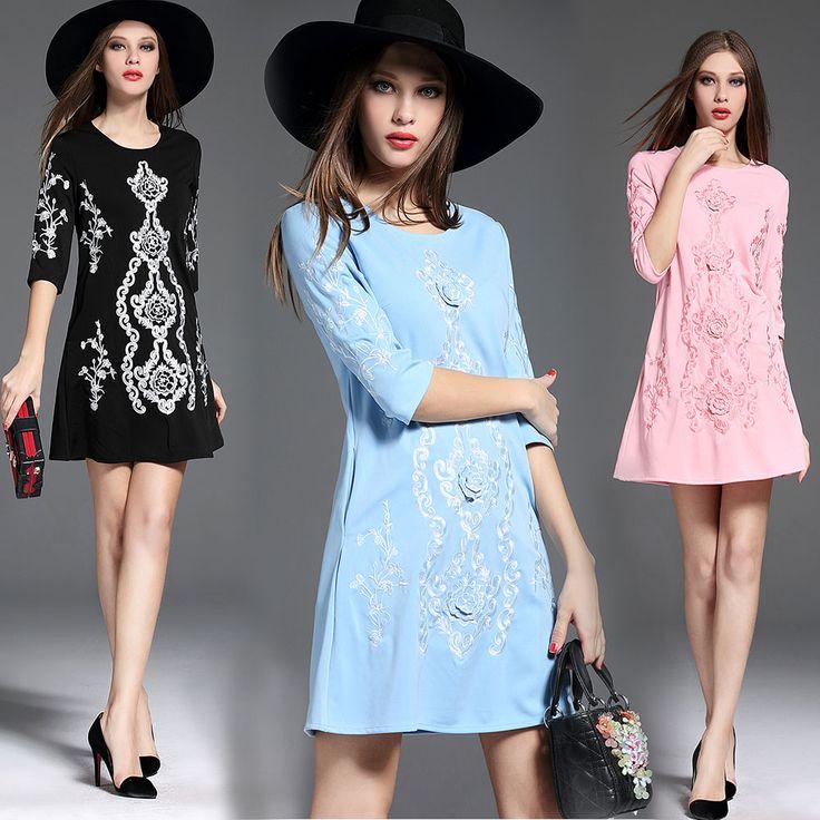 Aliexpress.com: Compre Novas mulheres bordado floral rosa dress robe hiver 2017 senhoras preto solto outono dress vetement femme dames jurken 72172 de confiança dress pleated fornecedores em Violet Apparel