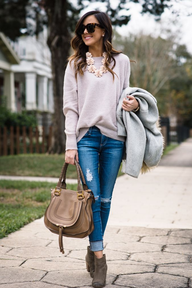 distressed denim, rosy, winter outfit, winter style, j.crew, j.crew chateau parka, chloe marcie satchel, ag distressed denim, chloe sunglasses, j.crew beaded rose necklace, bp booties