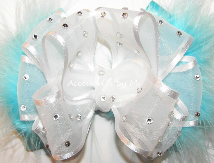 High Glitz Turquoise White Organza Marabou #Feathers Hair #Bow #Pageant Accessories for #Toddler Girls - by accessoriesbyme